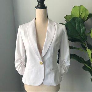 XOXO White Ruched-Sleeve Blazer
